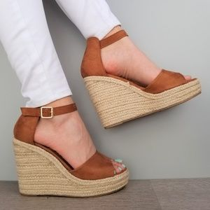 04aa666a907a Shoes - Tan Suede Espadrille Wedge Heel Sandals